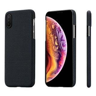 Kryt na mobil Pitaka Aramid - black/grey plain - iPhone XS/X